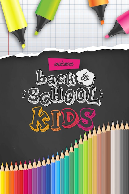 Welkom terug op school poster sjabloon Gratis Vector