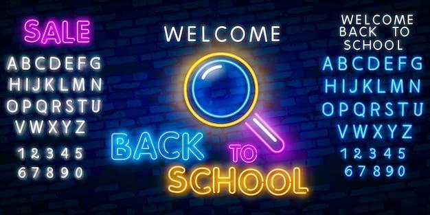 Welkom terug op school. typografie lettertype alfabet neon stijl effect Premium Vector