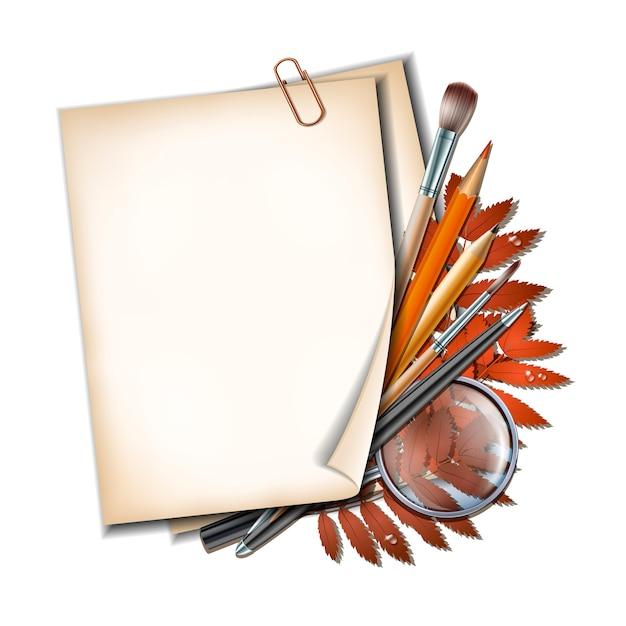 Welkom terug op schoolachtergrond. schoolartikelen en -elementen. vel papier met herfstbladeren, pennen, potloden, borstels en vergrootglas op witte achtergrond. Premium Vector