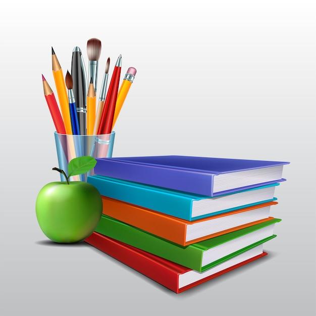 Welkom terug op schoolachtergrond. schoolitems en -elementen. Premium Vector