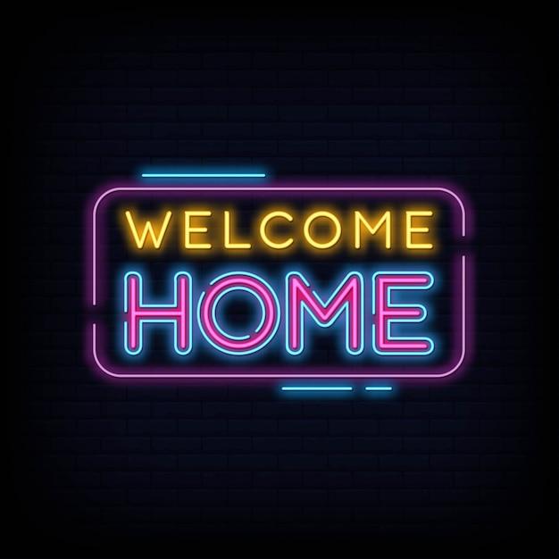 Welkom thuis neon teken tekst vector Premium Vector