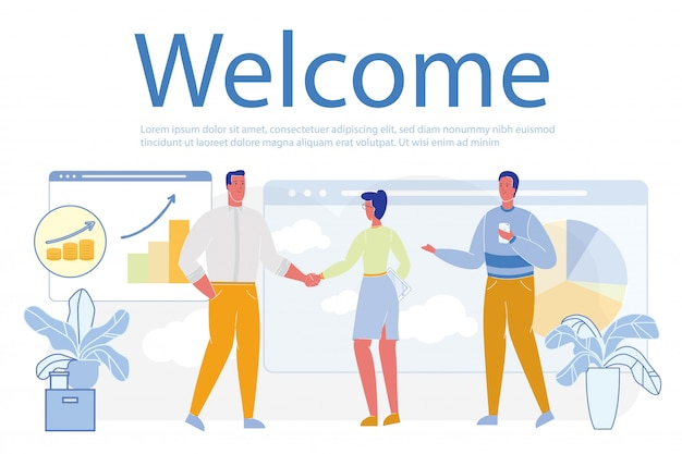 Welkom word en deal of partnerschapsovereenkomst. Premium Vector