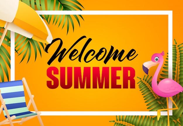 Welkom zomer heldere posterontwerp. roze flamingo Gratis Vector