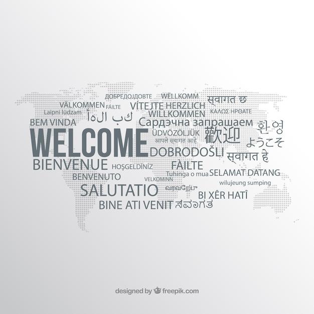 Welkomscompositie in verschillende talen Gratis Vector