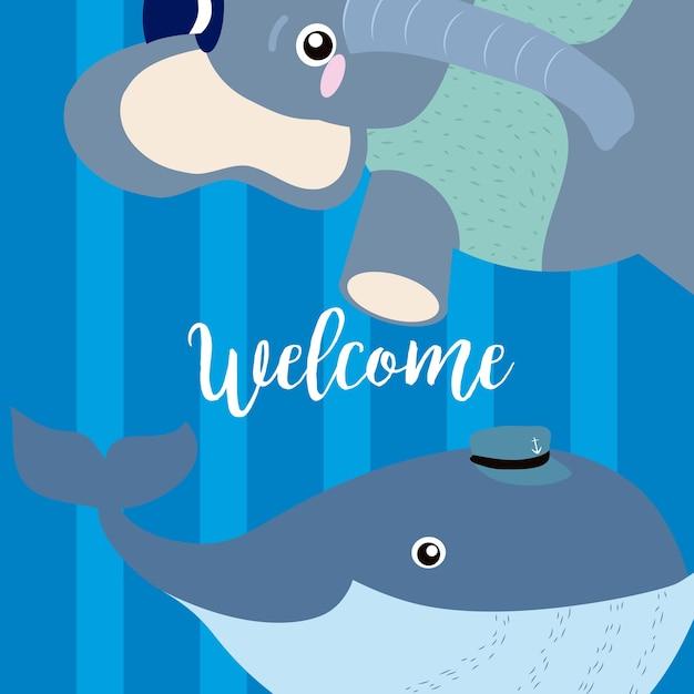 Welkomstkaart met grappige dierencartoons Premium Vector