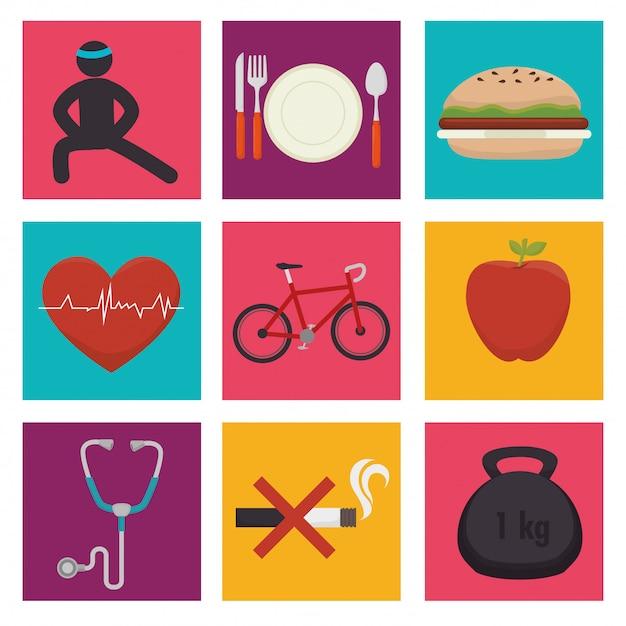 Wellnees healthcare lifestyle Premium Vector