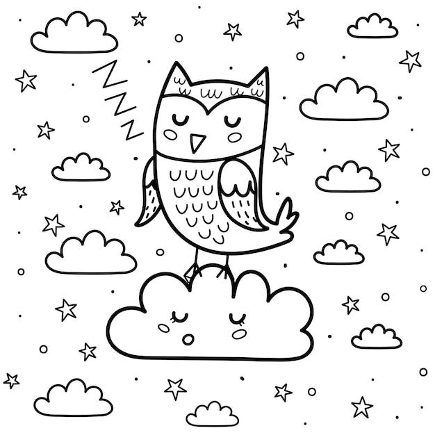 Welterusten kleurplaat met een schattige slapende maan en wolk. zwart-wit fantasie achtergrond. zoete dromen print voor kleurboek voor kinderen. illustratie Premium Vector