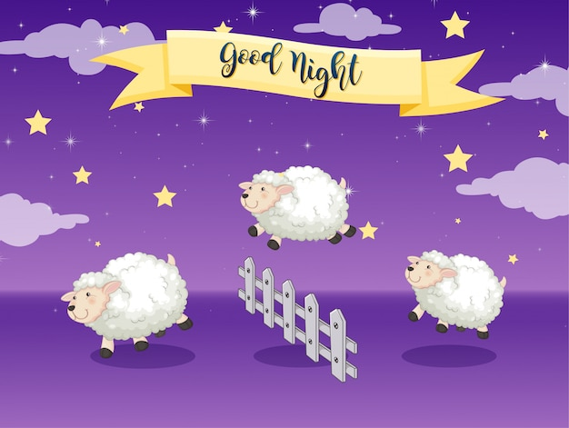 Welterusten poster met schapen tellen Gratis Vector