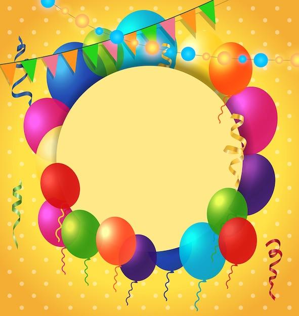 Wenskaart, ballonnen, puntpatroon Gratis Vector