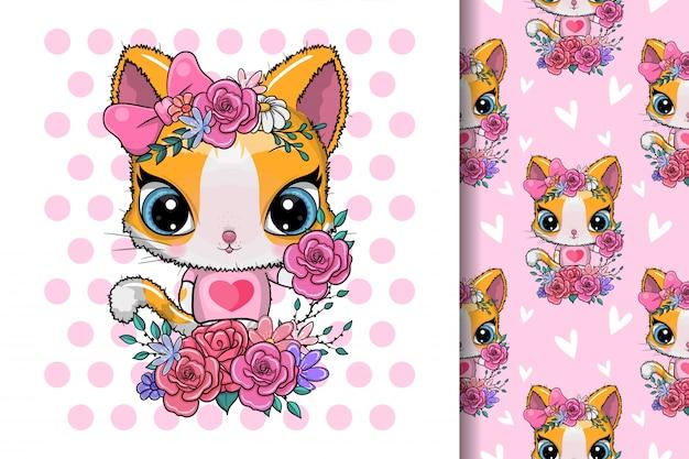Wenskaart cute kitten met bloemen Premium Vector