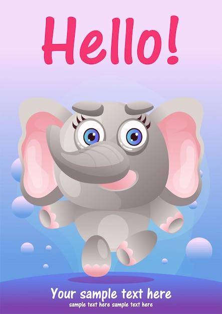 Wenskaart leuke olifant cartoon Premium Vector