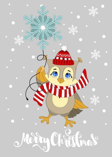 Wenskaart met een kerst-uil. merry christmas hand getrokken belettering. afdrukken op stof, papier, ansichtkaarten, uitnodigingen. Premium Vector