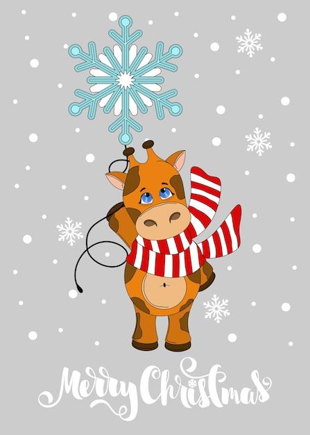 Wenskaart met kerst giraffe. merry christmas hand getrokken belettering. afdrukken op stof, papier, ansichtkaarten, uitnodigingen. Premium Vector