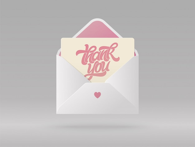 Wenskaart met zin dank u in open envelop. mooie realistische afbeelding. handgeschreven borstel belettering voor briefkaart, spandoek, poster. illustratie. Premium Vector