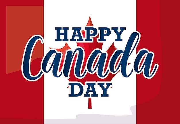 Wenskaart van gelukkige canada dag met vlag Premium Vector