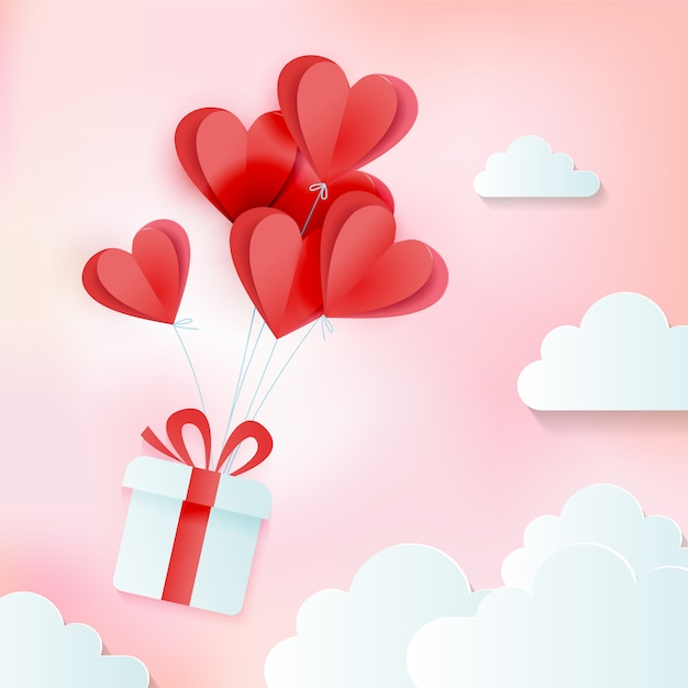 Wenskaart van liefde en valentijnsdag met bos van hart ballonnen met cadeau in wolken. papier gesneden stijl. gezellige roze illustratie vector Premium Vector