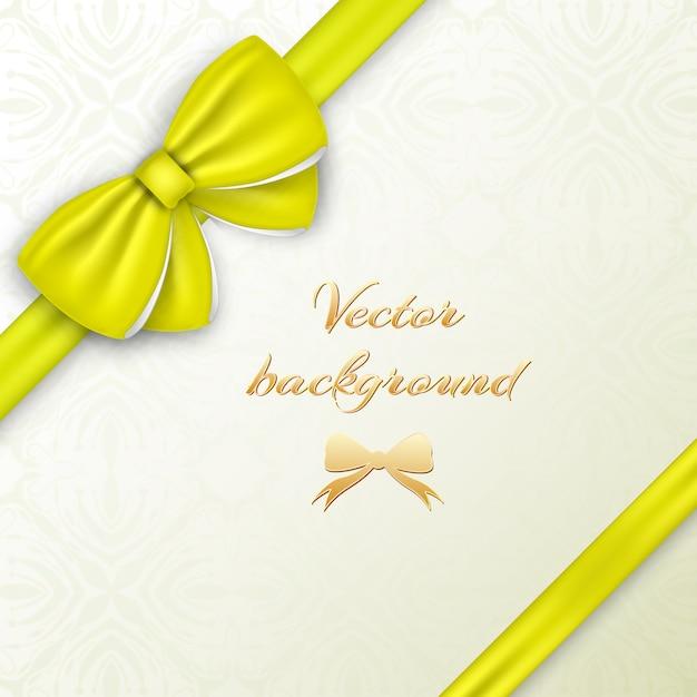 Wenskaartconcept met gele zijdeachtige boog en linten op decoratieve illustratie Gratis Vector