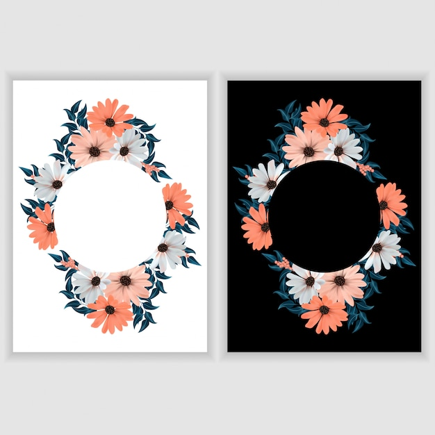 Wenskaartsjabloon met bloemen cirkel rand Premium Vector