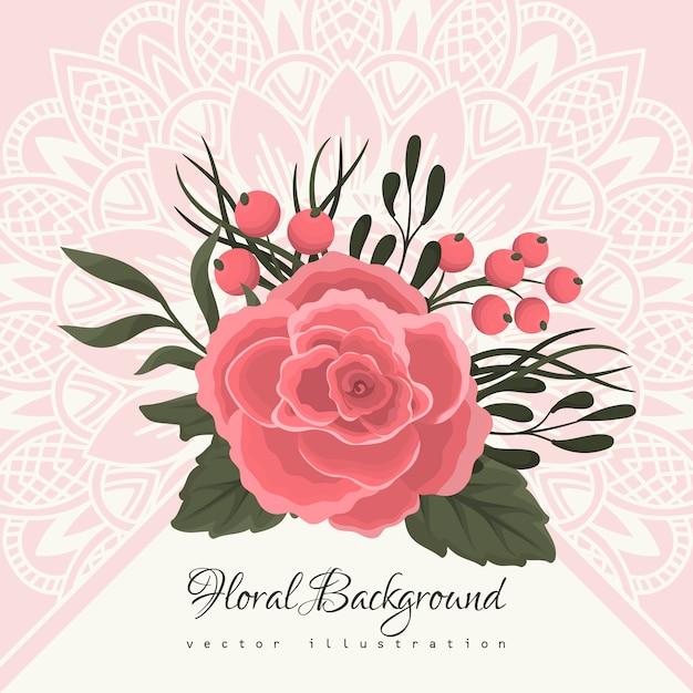 Wenskaartsjabloon met florale achtergrond Gratis Vector