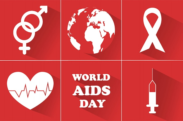 Wereld aids dag. 1 december. Premium Vector