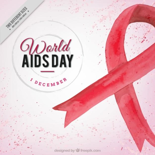 Wereld aids dag achtergrond met rode aquarel lint Gratis Vector