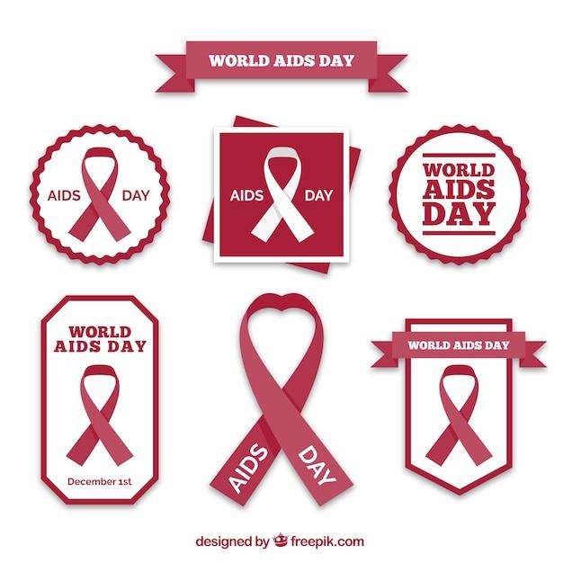 Wereld aids dag badge collectie Gratis Vector