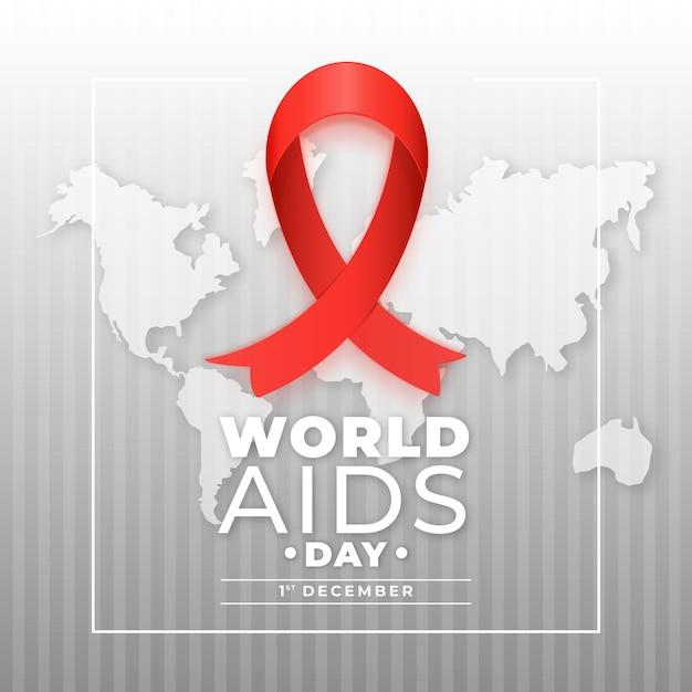 Wereld aids dag lint op wereldkaart Gratis Vector