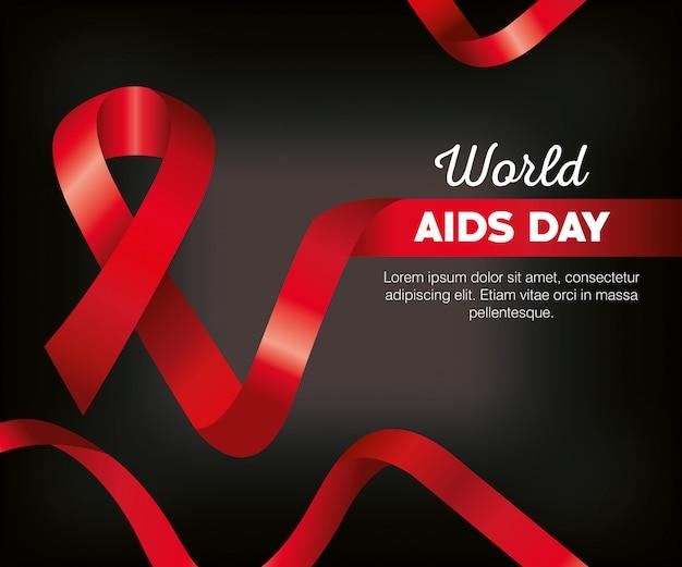 Wereld aids dag poster sjabloon met lint Premium Vector
