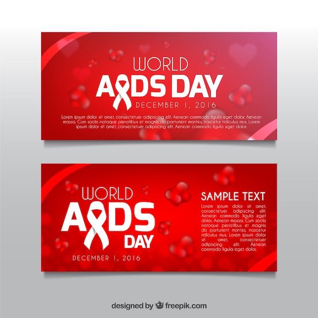 Wereld aids dag rode banners Gratis Vector