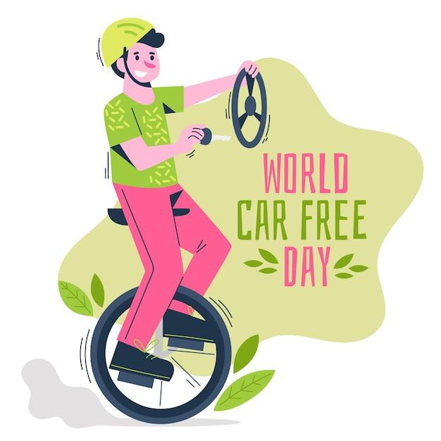 Wereld autovrije dag loting Gratis Vector