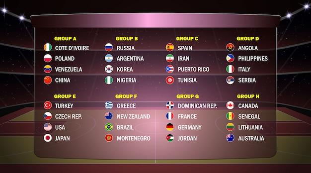 Wereld basketbal cup groepen. Premium Vector