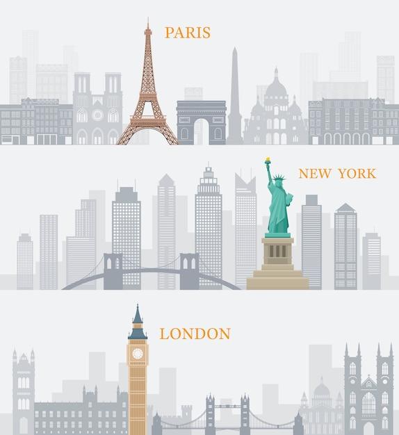 Wereld bekende oriëntatiepunten illustratie Premium Vector