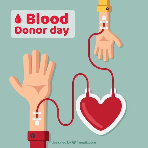 Wereld bloeddonor dag achtergrond met twee armen en een hart Gratis Vector