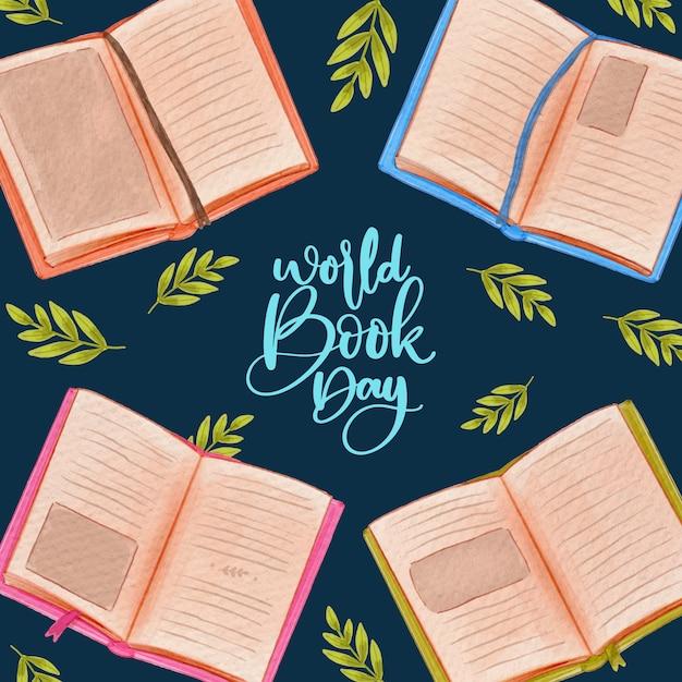 Wereld boek dag aquarel stijl Gratis Vector