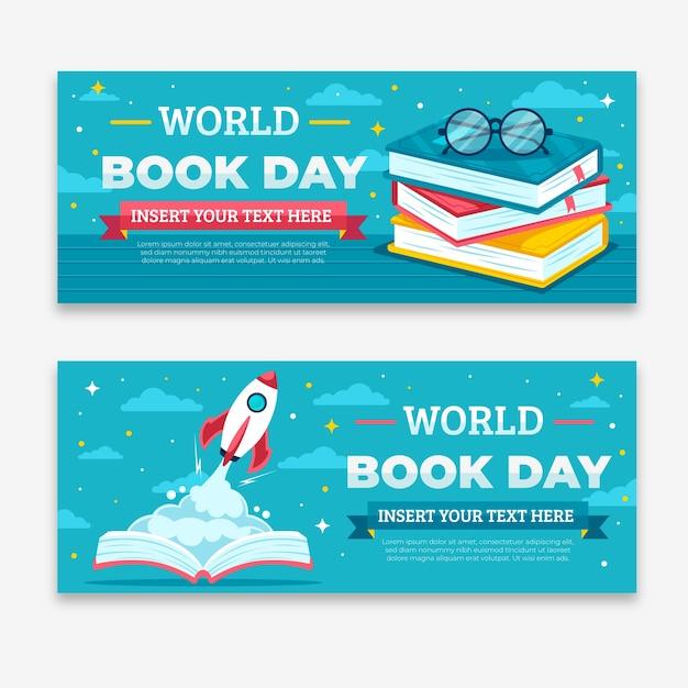 Wereld boek dag banners plat ontwerp Gratis Vector