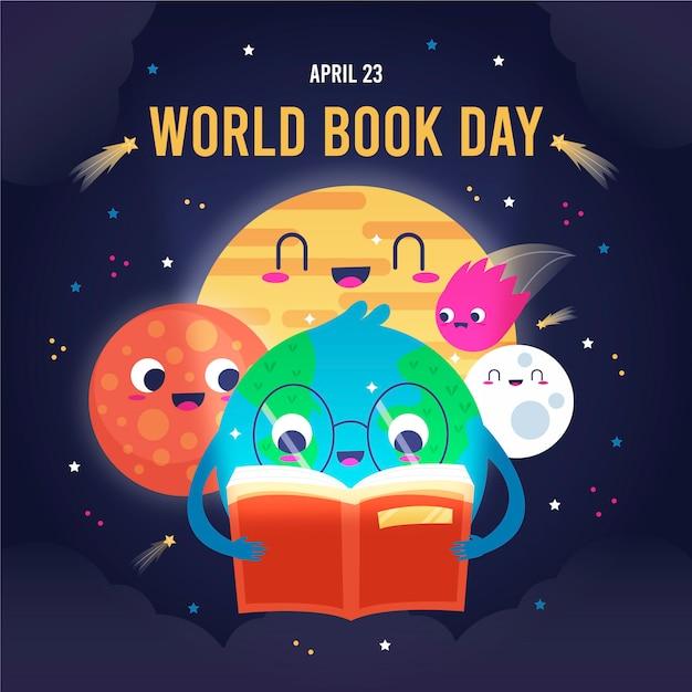 Wereld boek dag illustratie met planeten Gratis Vector