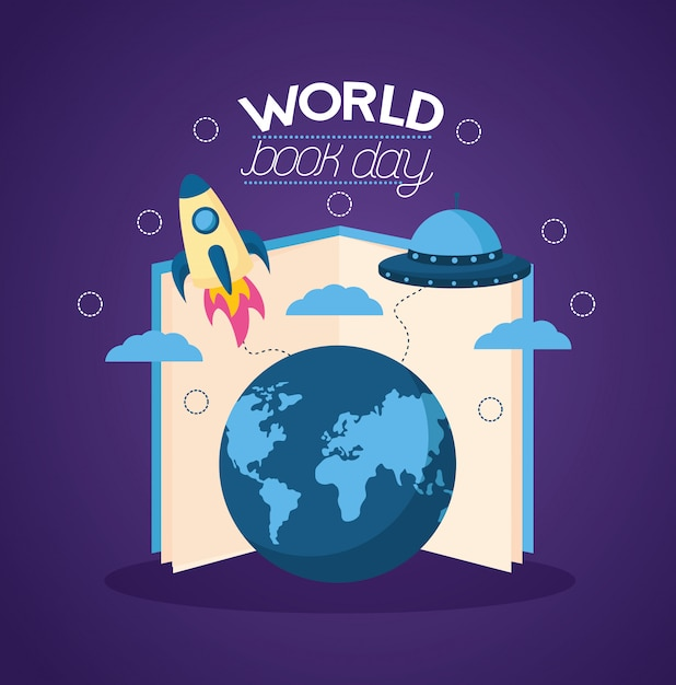 Wereld boek dag illustratie Gratis Vector