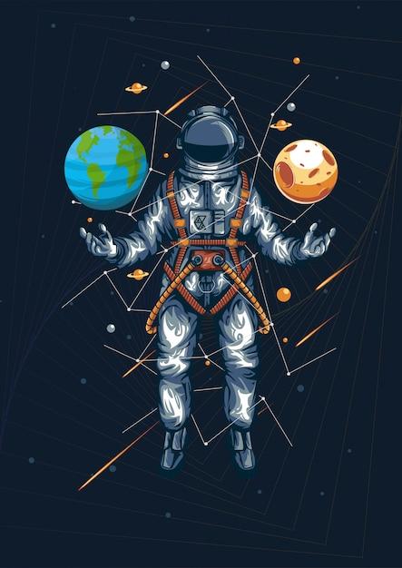 Wereld en universum in uw hand illustratie Premium Vector
