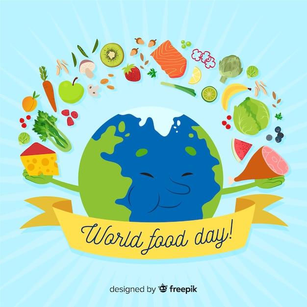 Wereld eten dag evenement hand getrokken Gratis Vector