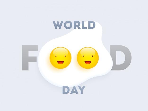 Wereld eten dag tekst met gelukkige eieren Premium Vector
