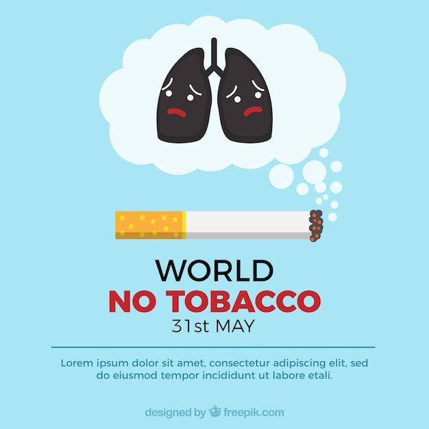 Wereld geen tabaksdag achtergrond met verdrietige longen Gratis Vector