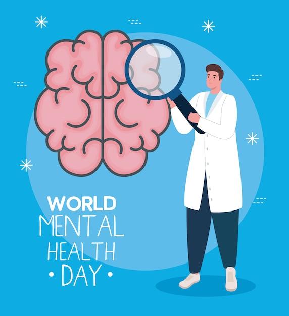 Wereld geestelijke gezondheidsdag kaart met hersenen en man arts Premium Vector
