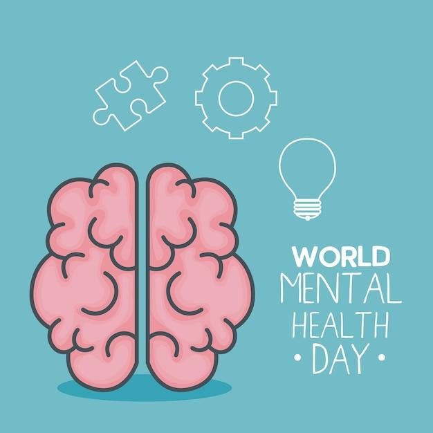 Wereld geestelijke gezondheidsdag kaart met hersenen Premium Vector
