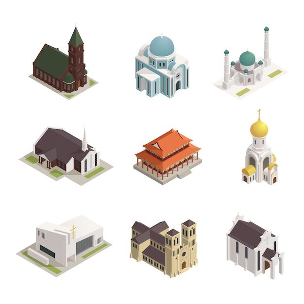 Wereld godsdiensten gebouwen isometrische pictogrammen instellen Gratis Vector