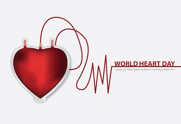 Wereld hart dag poster ontwerpsjabloon vectorillustratie Gratis Vector
