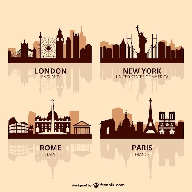 Wereld hoofdsteden horizonvector Gratis Vector