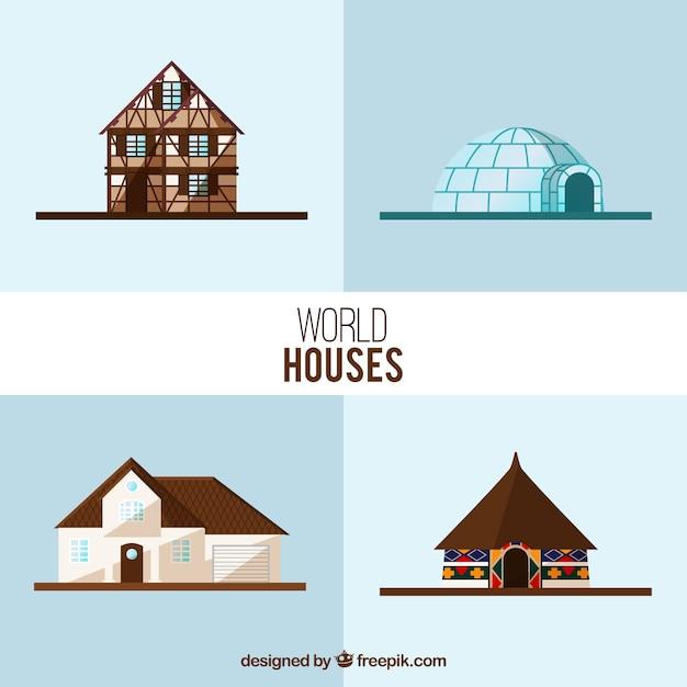 Wereld huizen collectie Gratis Vector