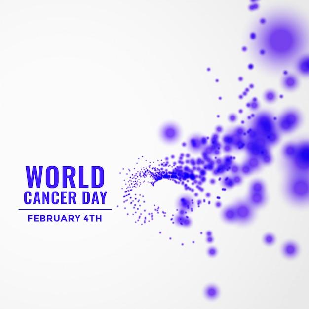 Wereld kanker dag achtergrond met vliegende deeltjes Gratis Vector