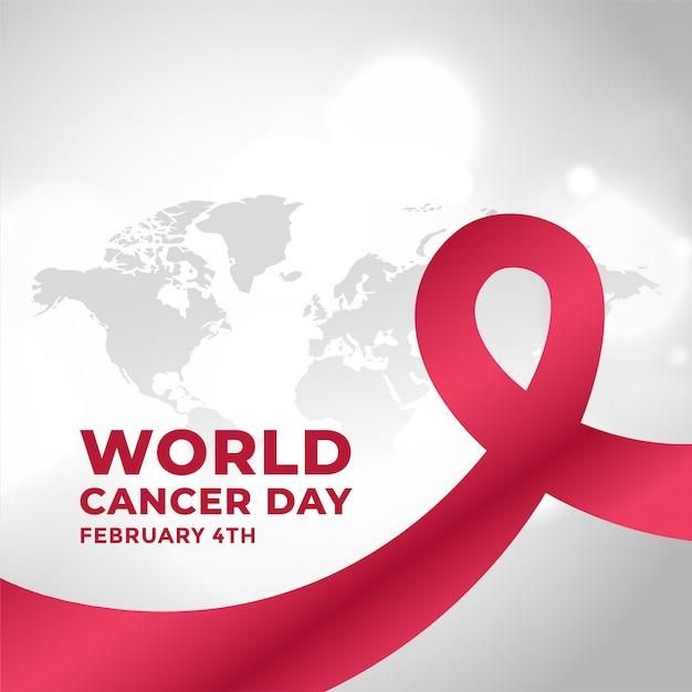 Wereld kanker dag campagne achtergrond met lint Gratis Vector