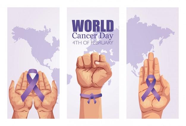 Wereld kanker dag poster met handen en lint Premium Vector